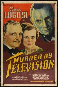 4g285 MURDER BY TELEVISION linen 1sh '35 stone litho of Bela Lugosi, inventor killed because of TV!