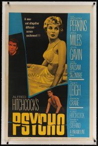 4g327 PSYCHO linen 1sh '60 sexy half-dressed Janet Leigh, Anthony Perkins, Alfred Hitchcock!