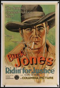 4g350 RIDIN' FOR JUSTICE linen 1sh '32 incredible artwork portrait of smoking cowboy Buck Jones!