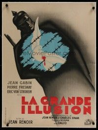 4h147 GRAND ILLUSION linen French 23x32 R45 Jean Renoir's masterpiece, classic Bernard Lancy art!