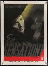 4h012 CITIZEN KANE linen Swedish '42 cool completely different art of Orson Welles by Aberg!