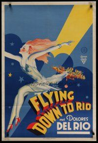 4j087 FLYING DOWN TO RIO Dutch '34 incredible art of sexy Del Rio, like the U.S. 1sh & in English!