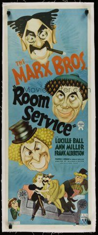 4j003 ROOM SERVICE linen insert '38 wonderful art of The Marx Brothers & Lucy by Al Hirschfeld!