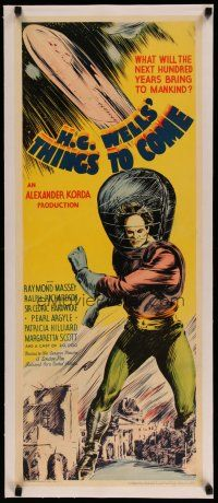 4j002 THINGS TO COME linen insert '36 William Cameron Menzies, H.G. Wells, best sci-fi art!