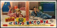 4j199 PILLOW TALK linen Italian 3p '59 different art of Rock Hudson & Doris Day on phones in PJs!