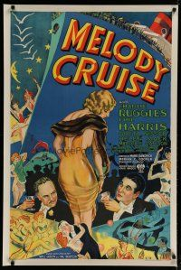 4j098 MELODY CRUISE 1sh '33 great stone litho of Ruggles & Harris admiring sexiest Greta Nissen!