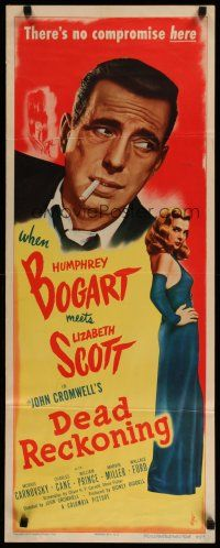 4k275 DEAD RECKONING insert '47 great c/u of smoking Humphrey Bogart & sexy Lizabeth Scott!