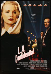 4k248 L.A. CONFIDENTIAL int'l 1sh '97 alternate image with Kim Basinger in black with white hood!