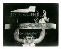 4t776 TERRY MOORE signed 8x10 REPRO still '80s playing piano while being lifted - Mighty Joe Young!