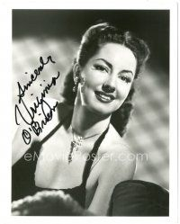 4t788 VIRGINIA O'BRIEN signed 8x10 REPRO still '90s head & shoulders close up w/ dazzling necklace!