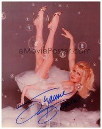 4t775 SUZANNE SOMERS signed color 8x10 REPRO still '90s naked in giant glass filled with bubbles!