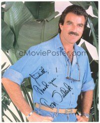 4t779 TOM SELLECK signed color 8x10 REPRO still '80s close up head & shoulders portrait!