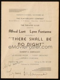 4t107 THERE SHALL BE NO NIGHT signed stage play program '40 by BOTH Lynn Fontaine AND Alfred Lunt!
