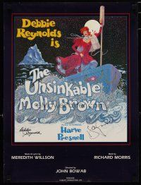 4t196 UNSINKABLE MOLLY BROWN signed 2-sided stage poster '80s by Debbie Reynolds & Harve Presnell!