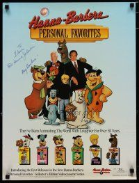 4t197 WILLIAM HANNA/JOSEPH BARBERA signed video poster '88 great image with their cartoon creations