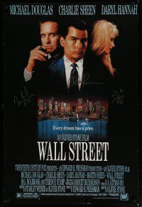 4t176 WALL STREET signed REPRO 1sh '87 by Michael Douglas, Charlie Sheen, AND Daryl Hannah!