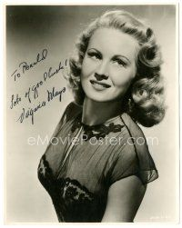 4t507 VIRGINIA MAYO signed 7.75x9.75 still '40s great sexy waist-high portrait in black lace dress!