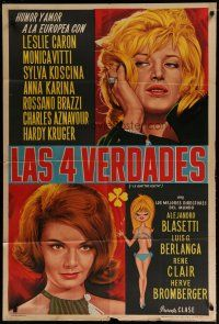 4w033 3 FABLES OF LOVE Argentinean '62 Les Quatre verites, art of sexy Monica Vitta & Anna Karina!