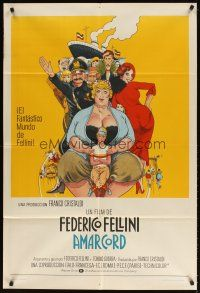 4w035 AMARCORD Argentinean '74 Federico Fellini classic comedy, art by Juliano Geleng!