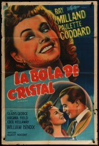 4w040 CRYSTAL BALL Argentinean '43 art of sexy Paulette Goddard & Ray Milland in crystal ball!