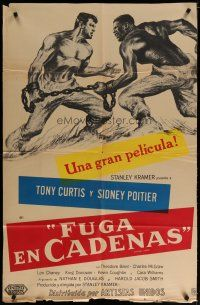 4w041 DEFIANT ONES Argentinean '58 art of convicts Tony Curtis & Sidney Poitier chained together!