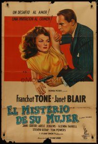 4w052 I LOVE TROUBLE Argentinean '47 great image of Franchot Tone holding gun & sexiest Janet Blair!