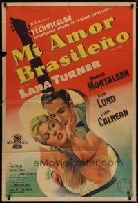 4w058 LATIN LOVERS Argentinean '53 best artwork of sexy Lana Turner & Ricardo Montalban in guitar!
