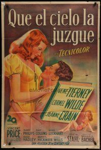 4w060 LEAVE HER TO HEAVEN Argentinean '45 art of sexy redhead Gene Tierney & Cornel Wilde!