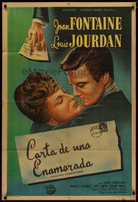 4w061 LETTER FROM AN UNKNOWN WOMAN Argentinean '48 Ophuls, art of Joan Fontaine & Louis Jourdan!