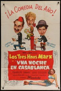 4w067 NIGHT IN CASABLANCA Argentinean '46 wacky art of The Marx Brothers, Groucho, Chico & Harpo!