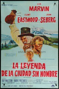 4w071 PAINT YOUR WAGON Argentinean '69 art of Clint Eastwood, Lee Marvin & pretty Jean Seberg!