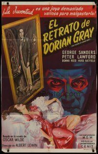 4w074 PICTURE OF DORIAN GRAY Argentinean '45 George Sanders, Hurd Hatfield, Donna Reed, creepy!