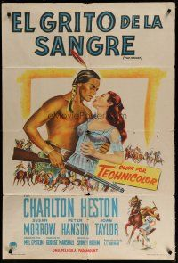 4w077 SAVAGE Argentinean '52 art of Native American Charlton Heston holding pretty Susan Morrow!