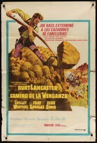 4w078 SCALPHUNTERS Argentinean '68 different art of Burt Lancaster pushing boulder down hill!