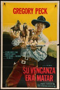 4w079 SHOOT OUT Argentinean '71 great full-length image of gunfighter Gregory Peck vs. 3 fast guns!