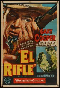 4w082 SPRINGFIELD RIFLE Argentinean R1950s cool close-up artwork of Gary Cooper with rifle!