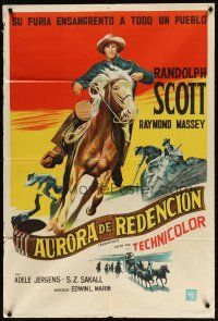 4w083 SUGARFOOT Argentinean '51 cool full-length artwork of of cowboy Randolph Scott on horseback!