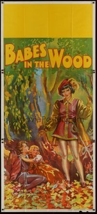 4w006 BABES IN THE WOOD stage play English 3sh '30s stone litho of female hero finding lost kids!