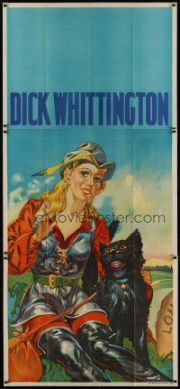 4w008 DICK WHITTINGTON stage play English 3sh '30s cool stone litho of sexy female lead &smiling cat