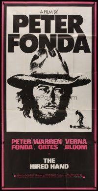 4w019 HIRED HAND English 3sh '71 huge headshot of star & director Peter Fonda in cowboy hat!