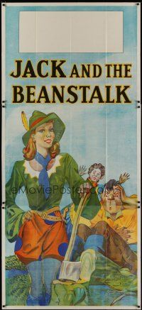 4w009 JACK & THE BEANSTALK stage play English 3sh '30s stone litho art of female Jack with axe!