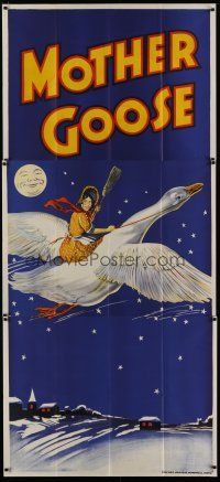 4w010 MOTHER GOOSE stage play English 3sh '30s Crossley art of mom flying on huge goose!