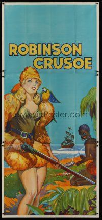 4w012 ROBINSON CRUSOE stage play English 3sh '30s great stone litho of sexy female hero & Friday!