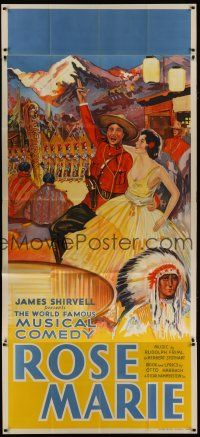 4w013 ROSE MARIE stage play English 3sh '30s wonderful stone litho art of Hammerstein/Harbach play!