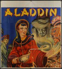 4w005 ALADDIN stage play English 6sh '30s stone litho of female lead with lamp & treasure!