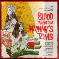 4w001 BLOOD FROM THE MUMMY'S TOMB English 6sh '72 wild art of Egyptian beauties & severed hand!