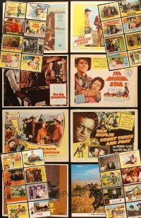 4y030 LOT OF 40 LOBBY CARDS FROM WESTERN MOVIES '50s-70s great images of cowboys & gunfights!