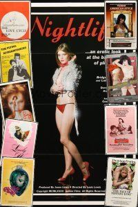 4y073 LOT OF 10 FOLDED SEXPLOITATION ONE-SHEETS '70s-80s great images from sexy movies!