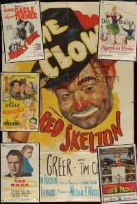 4y078 LOT OF 7 FOLDED ONE-SHEETS '40s-50s The Clown, Honky Tonk, South Pacific & more!