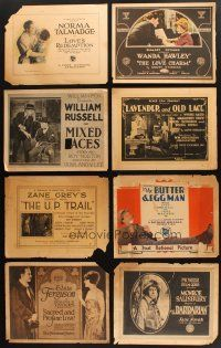 4y003 LOT OF 8 TITLE LOBBY CARDS FROM SILENT MOVIES '10s-20s Norma Talmadge, Zane Grey & more!